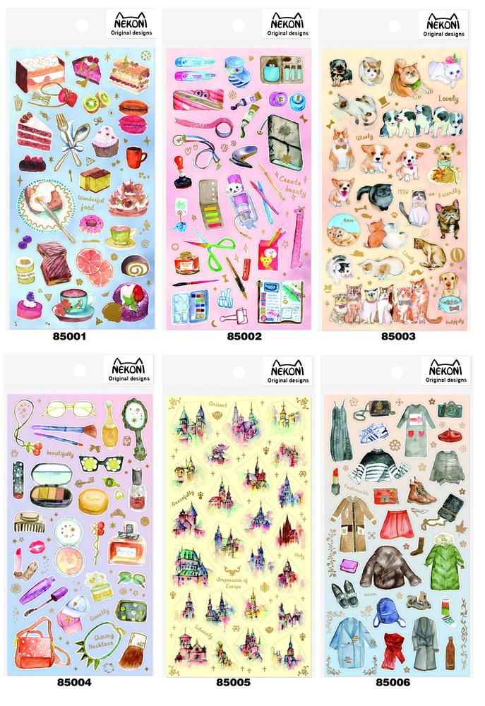 OKNekoni日本人气手帐水彩手绘和纸平面文艺风学生 DIY贴纸 6款
