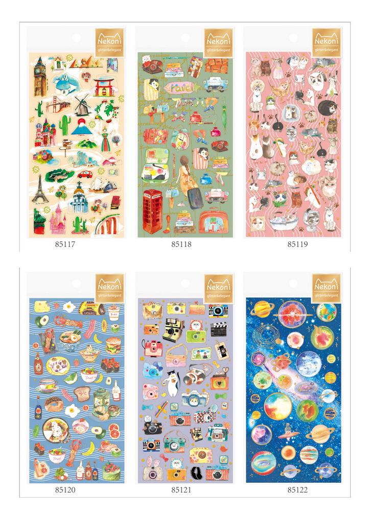 典藏级日系贴纸Nekoni 人气星空猫咪元素DIY装饰贴 日记手帐贴纸6款